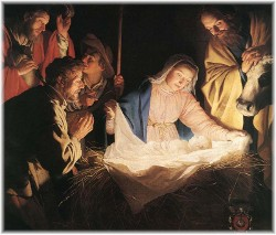 Shepherds adore Jesus