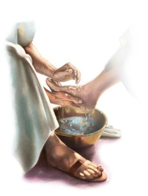 Christ washing disciple's feet