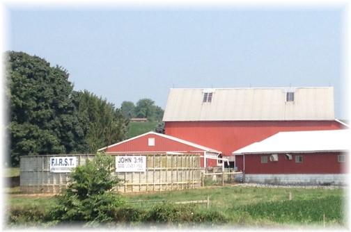 John 3:16 sign on manure storage tank Lancaster County PA