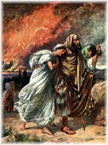 Lot fleeing Sodom