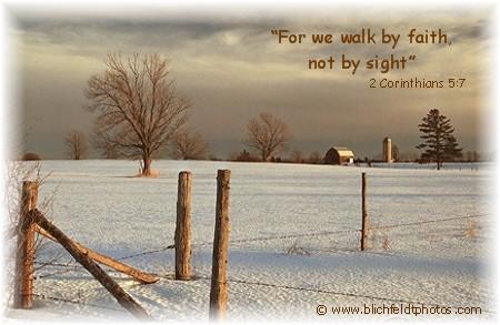 2 Corinthians 5:7 with Michigan winter scene (Photo by Howard Blichfeldt)