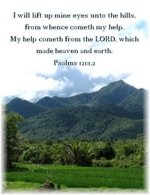 Psalm 121:1,2 with mountain view