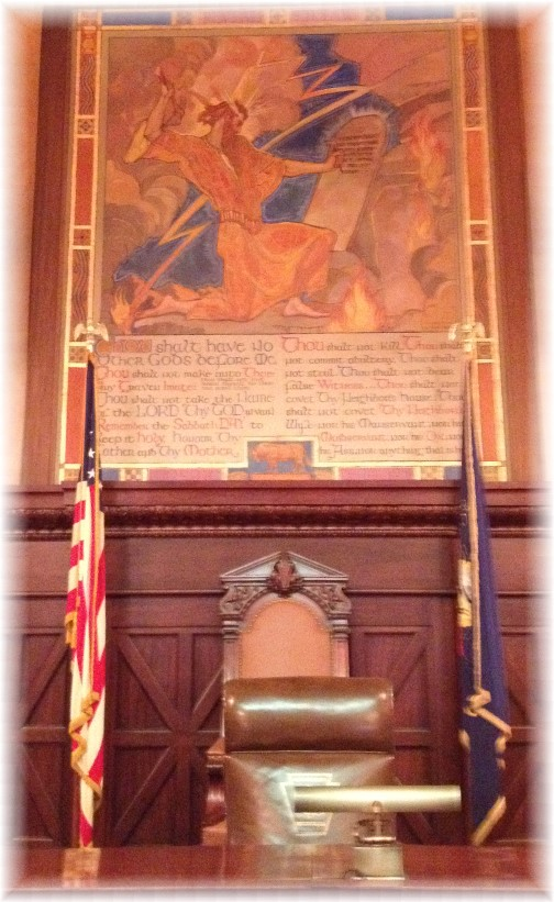 Ten Commandments behind bench in Pennsylvania House Supreme Court