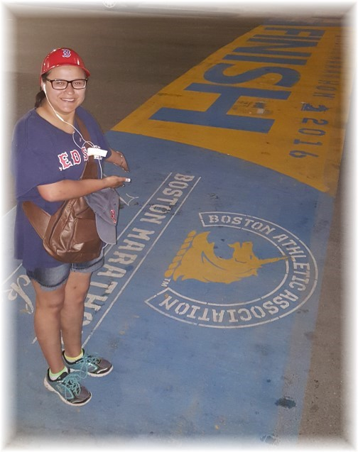 Ester at Boston Marathon finish line 6/15/16