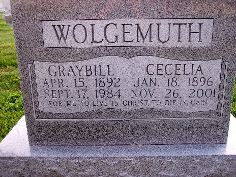 Photo of Wolgemuth Tombstone
