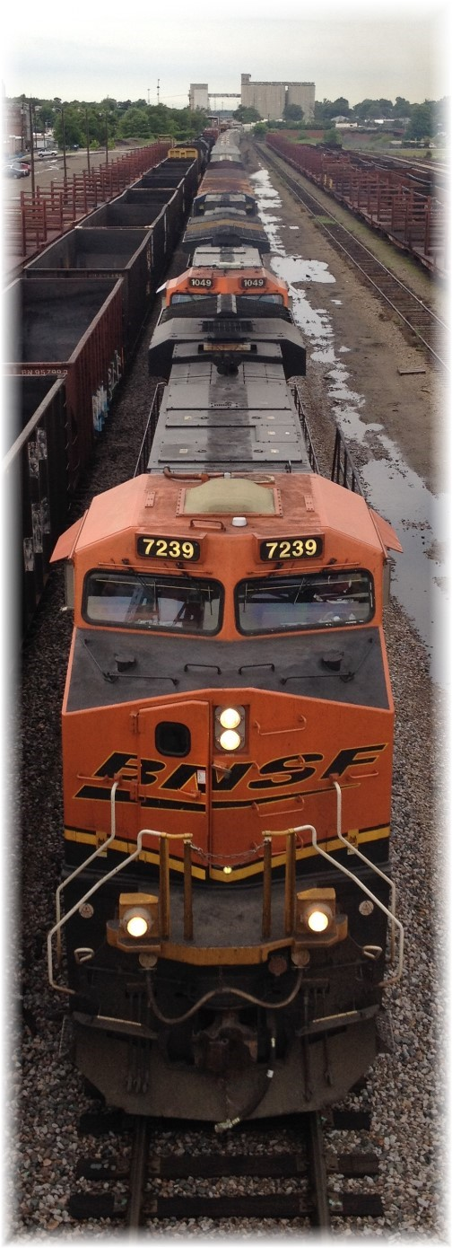 Train from Jefferson Avenue footbridge, Springfield, MO 7/1/15