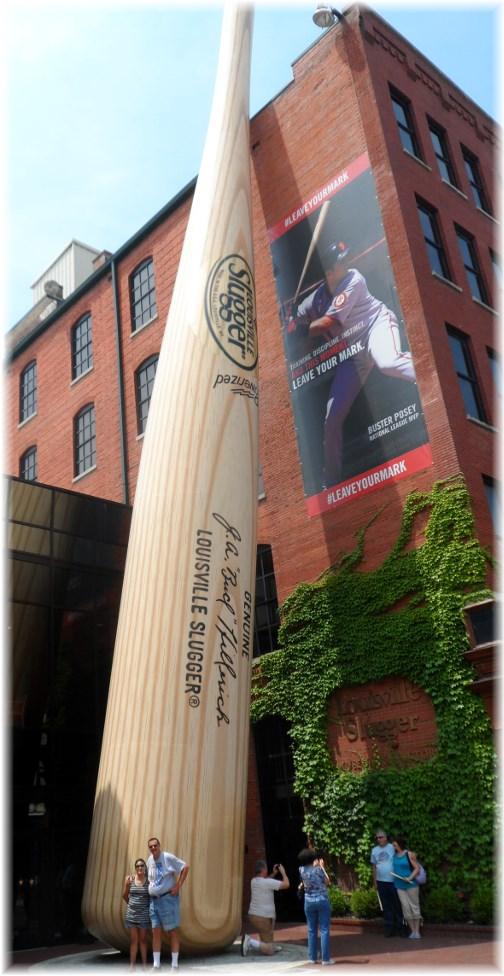 Stephen & Ester with Louisville Slugger baseball bat 7/8/13