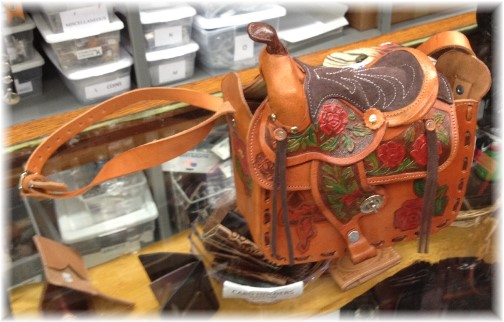 Saddle purse at leather shop in New Braunfels Texas 5/6/14