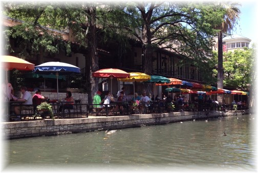 River walk umbrellas