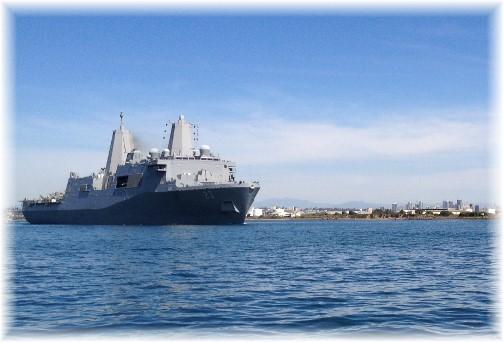 Naval ship leaving San Diego