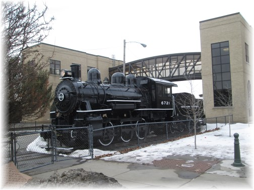 Steam train engine at Utica, NY