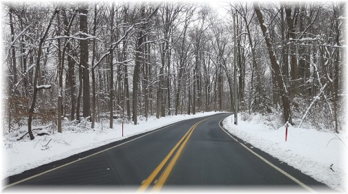 Snowy road in Lebanon County PA 2/10/16