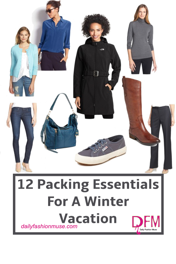 What are the packing essentials for a winter vacation? I have 12 suggestions that make for well-rounded stylish looks that can be layered. Click to read.