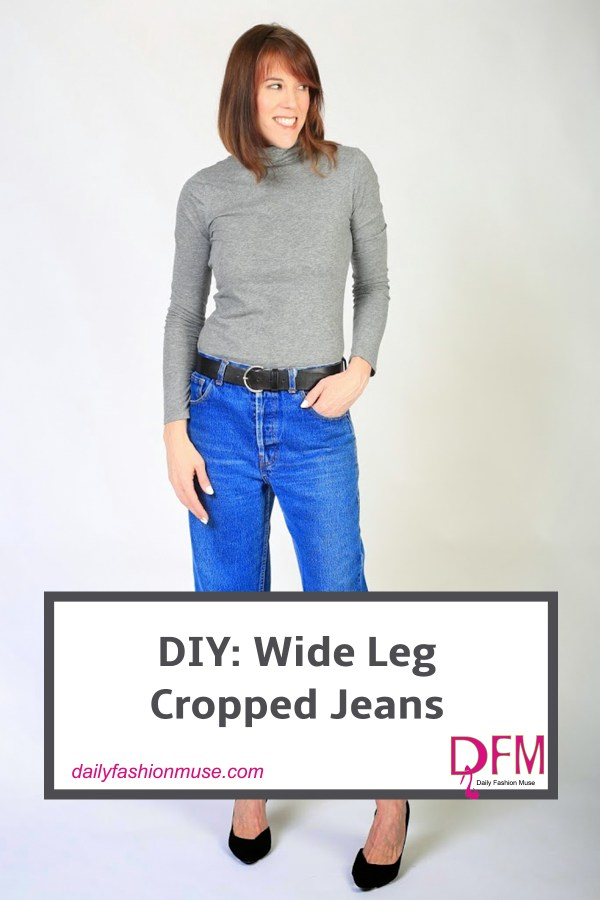 Take a pair of your jeans and transform them into the new cropped frayed edge jeans with this DIY. Click through for instructions.