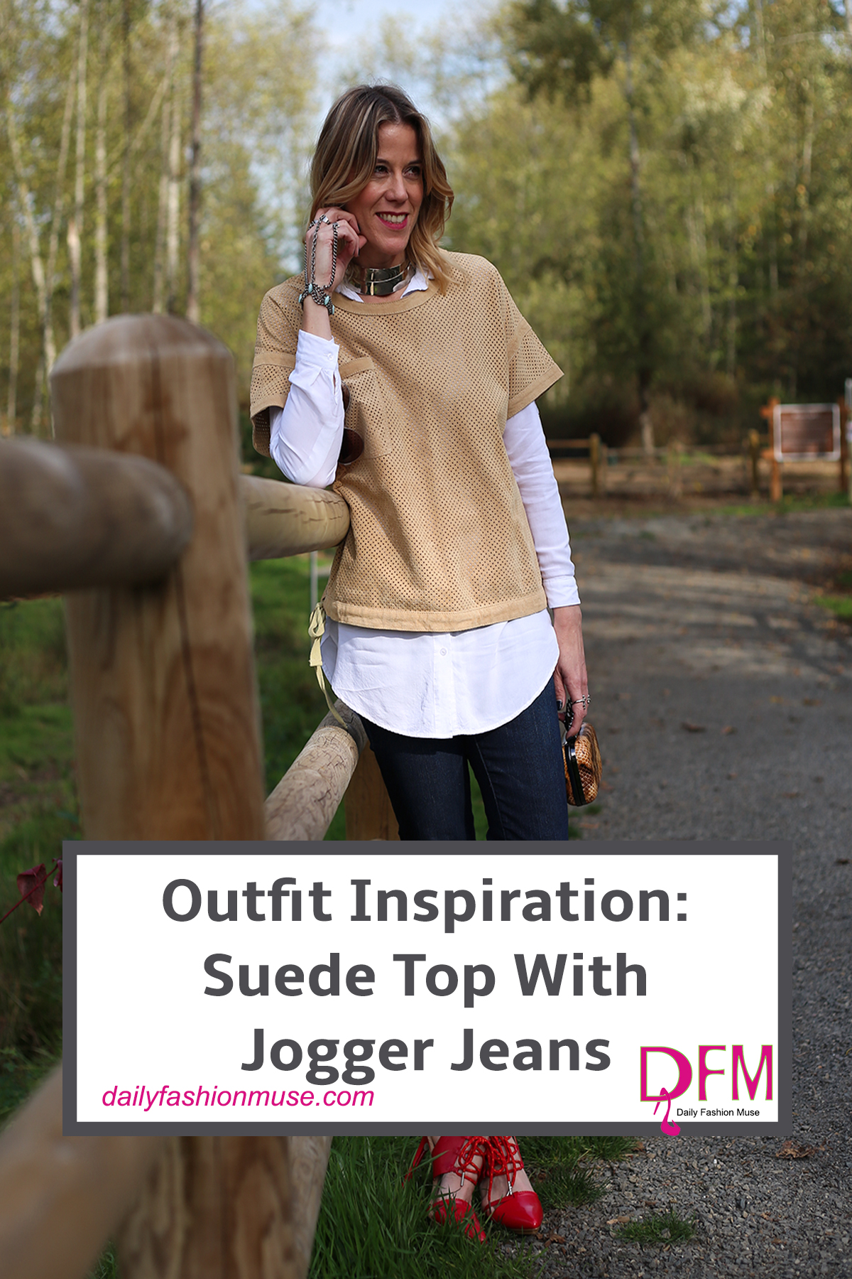 Sometimes all it takes to create a new outfit is shopping your closet. Try to go in as if it were a store. Mix and match items in new ways. Take this suede shirt. I had worn it the same way for years and then I tried adding a white shirt underneath it and boom a whole new look.