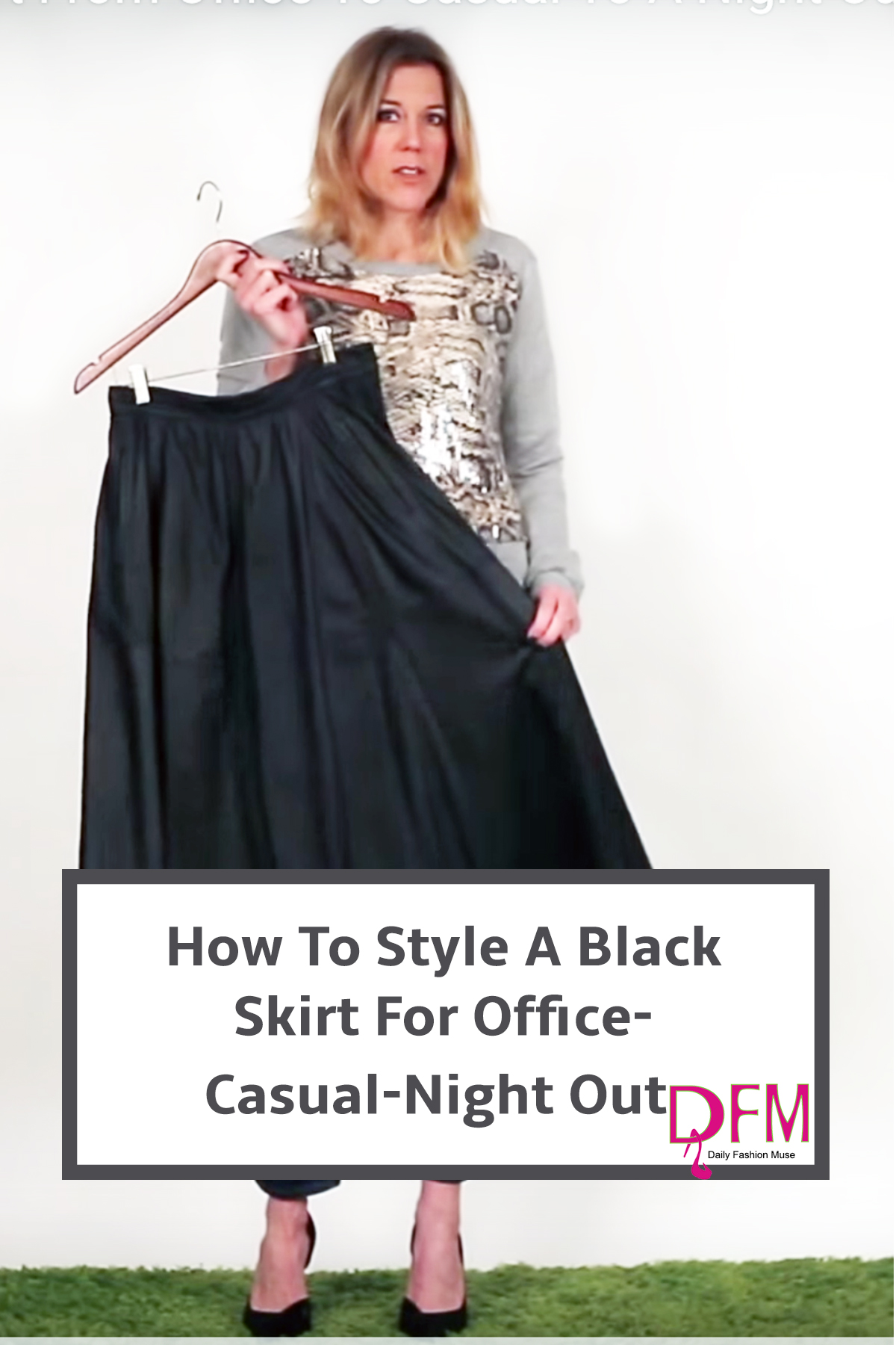 Make your wardrobe pieces work across your entire wardrobe. I'll show you how this skirt can be worn to the office, for a casual day, and for a night out. Click to watch the video.