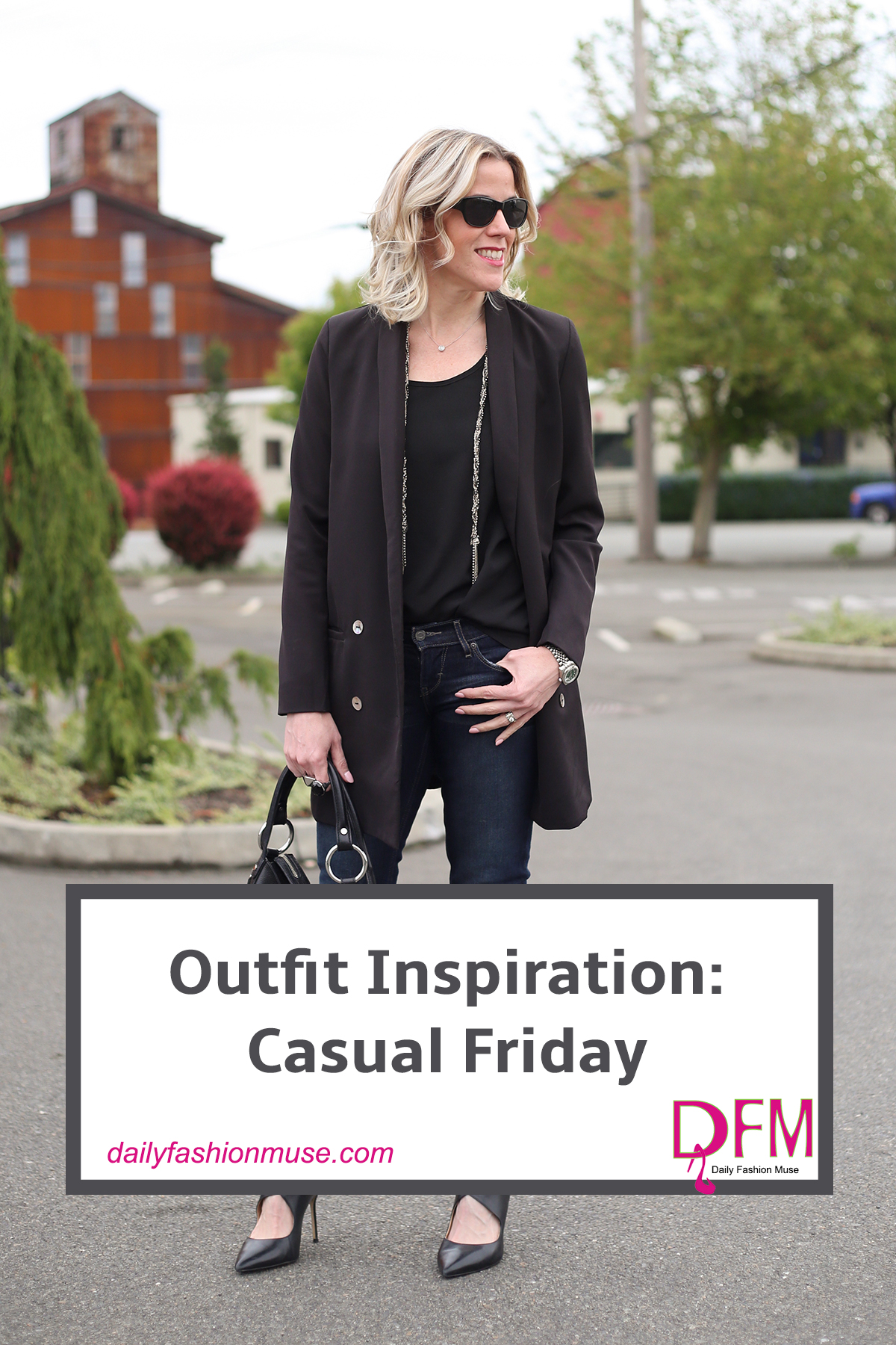 Casual office wear or casual Friday wear doesn't mean sweats and a tee. Generally it is an invitation to sport your jeans. Keep in mind that it is still a professional environment and a blazer with jeans is the perfect compromise.