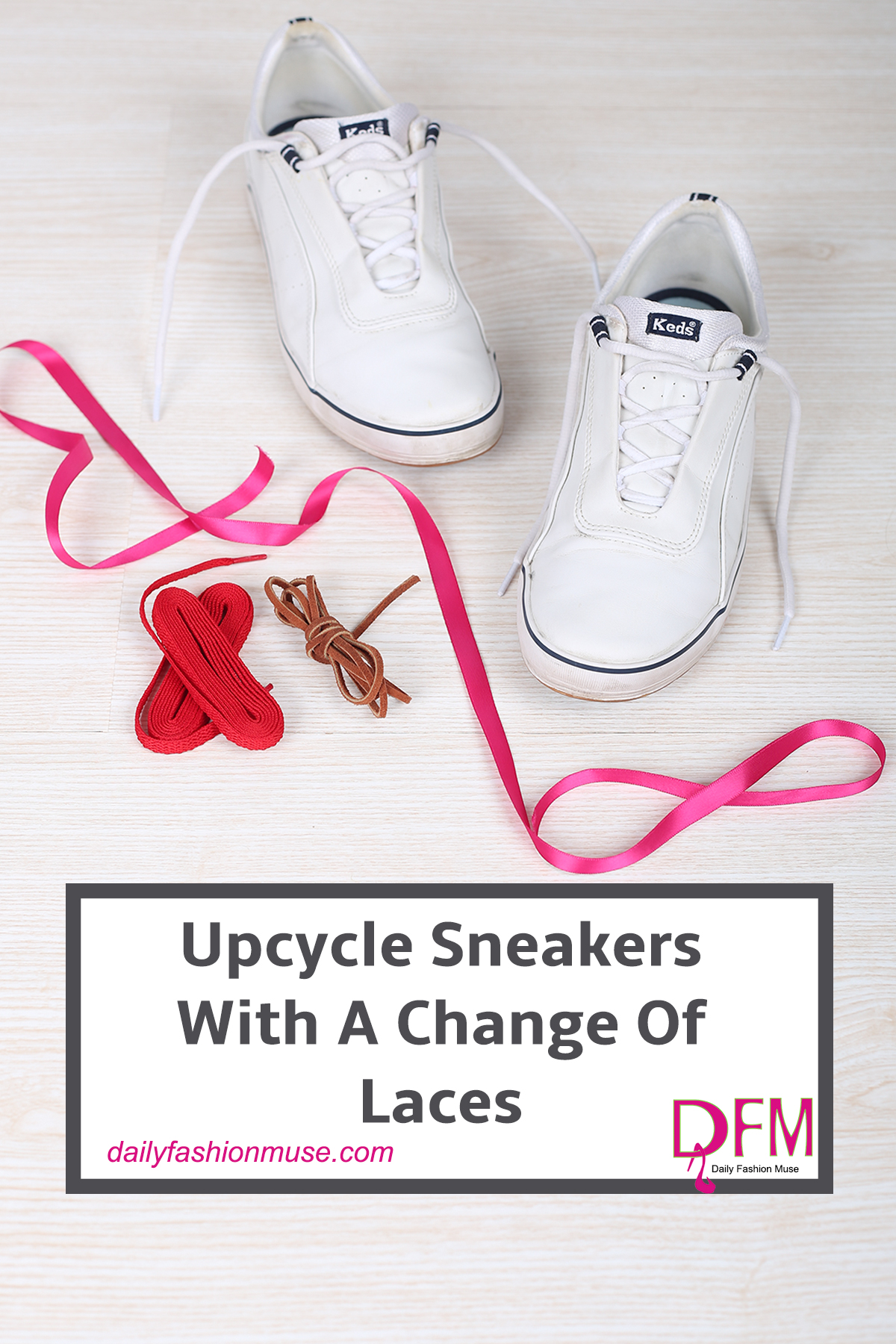 Here is a quick way to upcycle sneakers. Change out the laces and the lacing techniques for a whole new look and feel. Click for how to lacing guide.