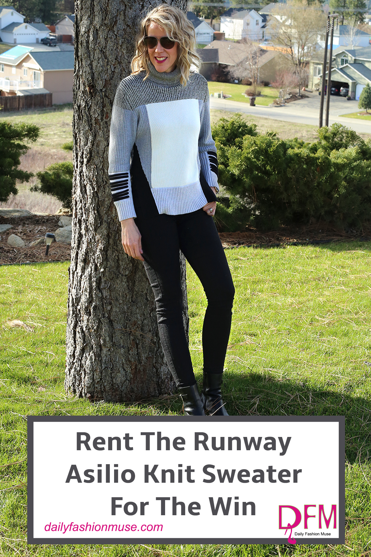 This is a Rent The Runway Unlimited Asilio turtleneck knit sweater that I was able to rent with my Unlimited subscription. Read my review.