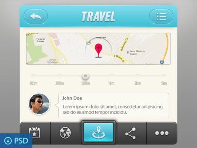 Travel App UI Elements(psd)