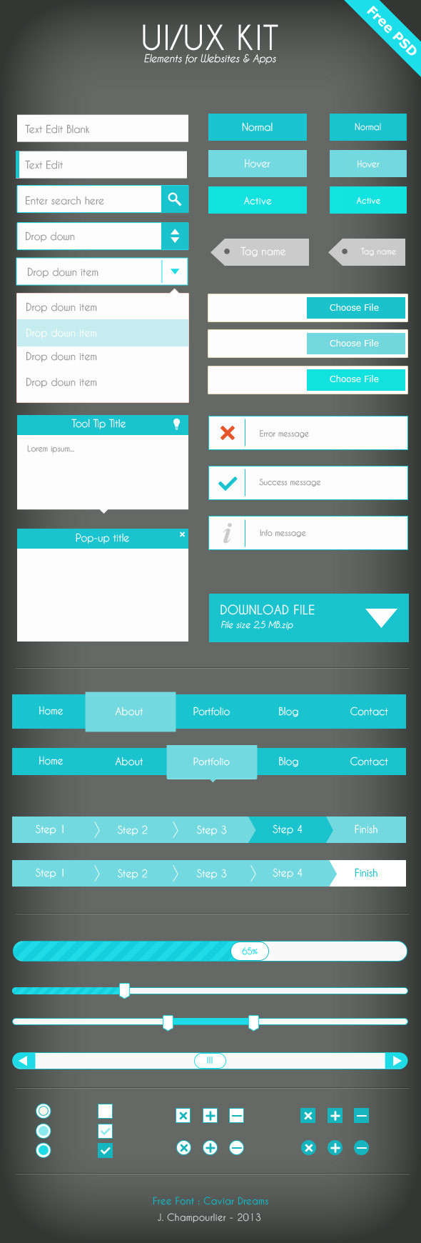 UI UX Kit Elements For Website & APP (PSD)
