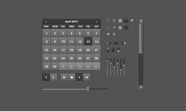 Black Free UI kit - UI elements,Calendar