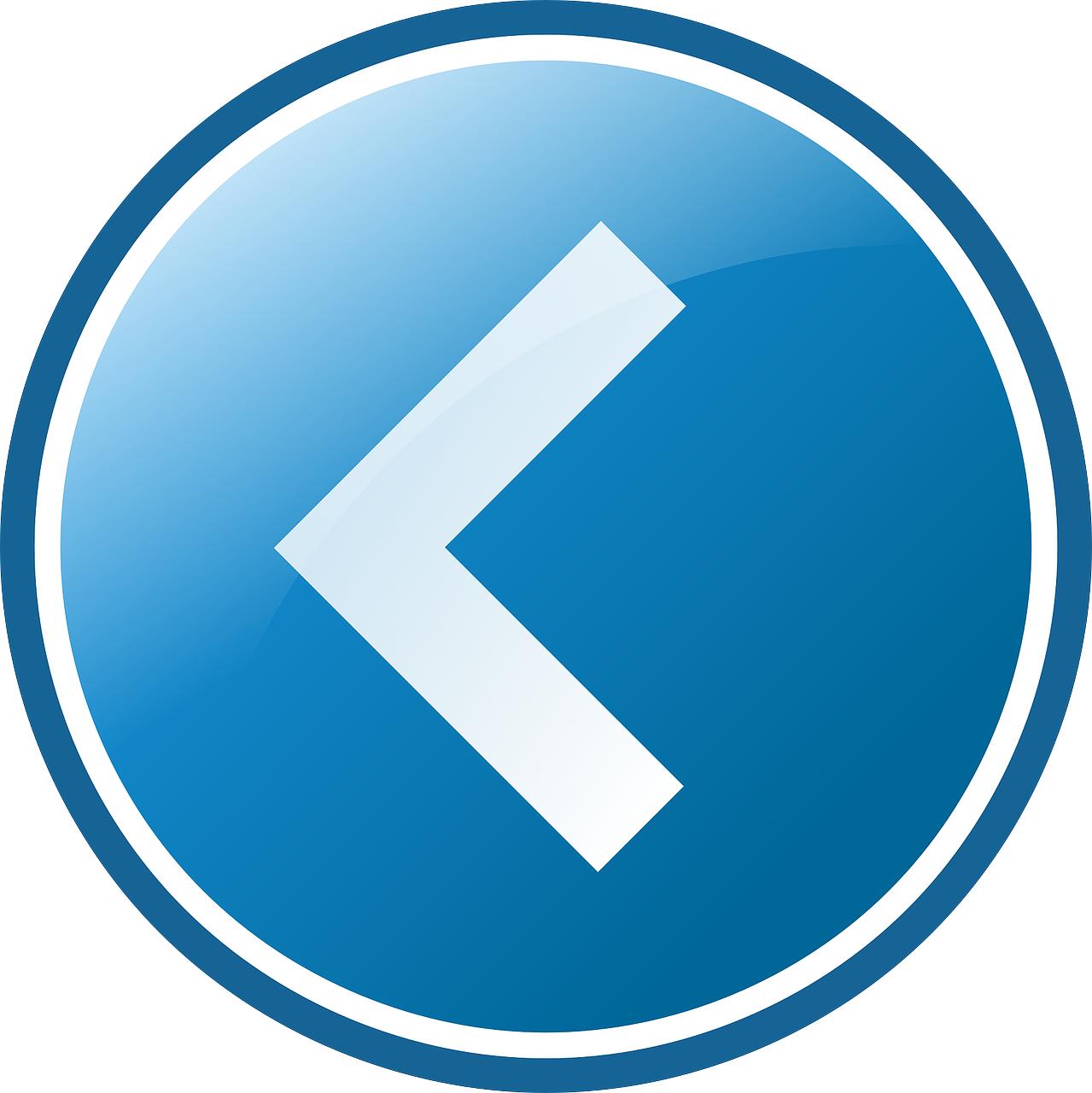 Blue round button,left arrow vector