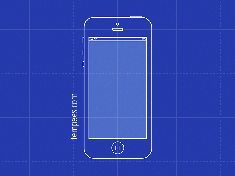 Blueprint illustration Of iPhone For wireframes