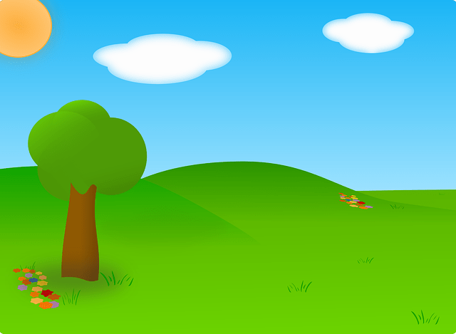 Cartoon bluesky white cloud green grass vector