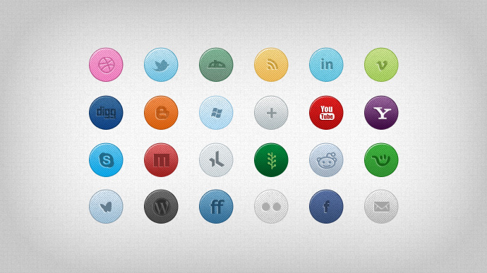 Cool Social Media Icons Free PSD
