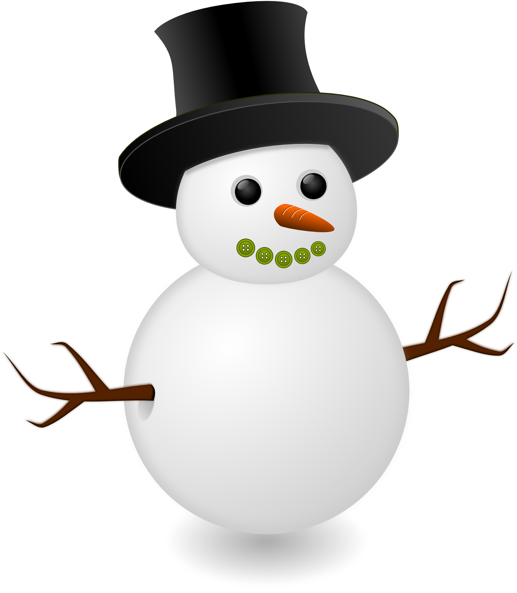 Cute snowman with black hat vector