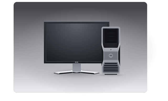 Desktop PC-LCD display, host computer vector