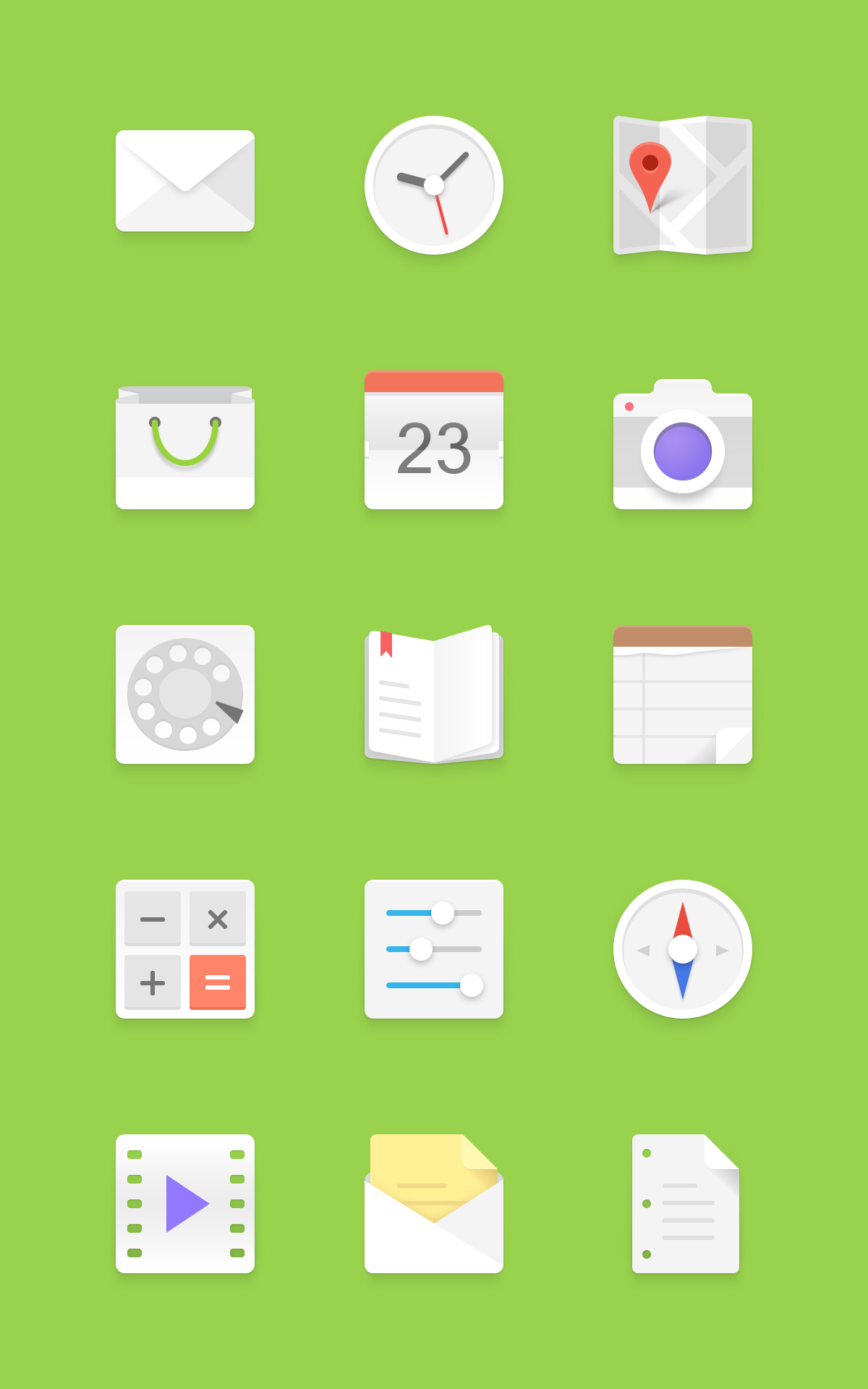 Free Android Icons Set PSD