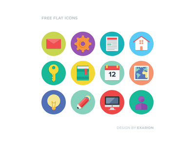 Free Rounded & Flat Icons PSD
