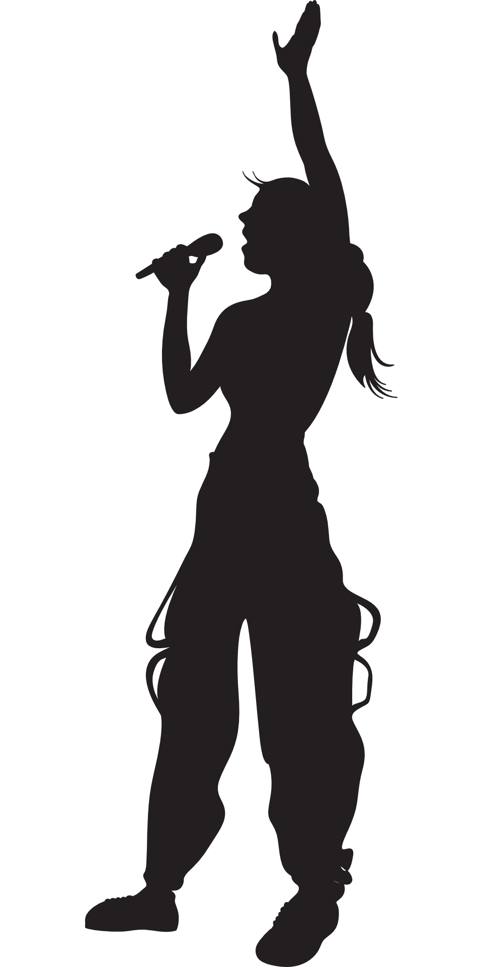 girl, singing ,silhouette vector