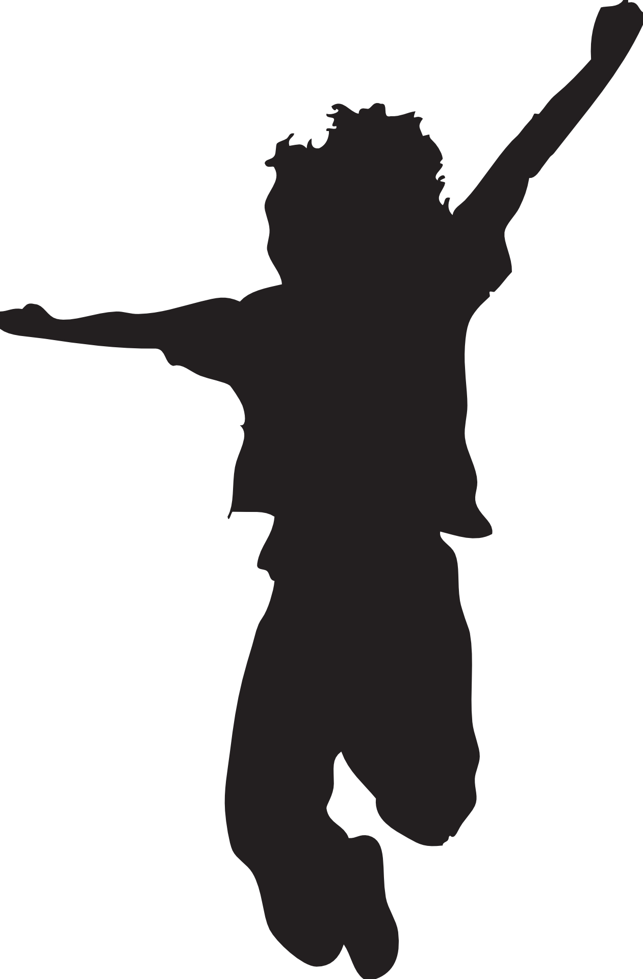 Jumping kid silhouette-boy outline vector