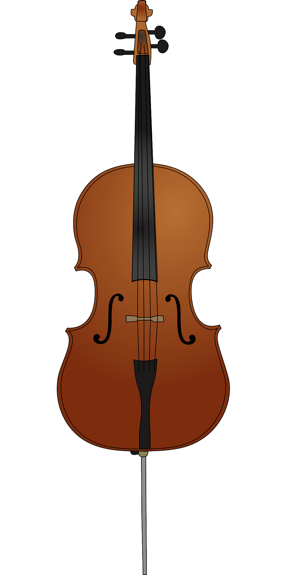 Musical instrument,brown wooden cello vector