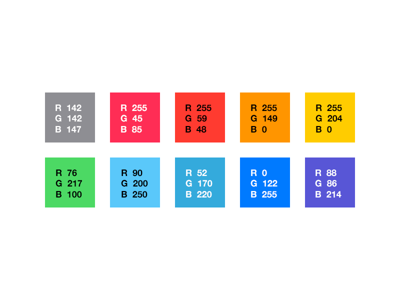 PS Swatches Free PSD- iOS 7 system palette