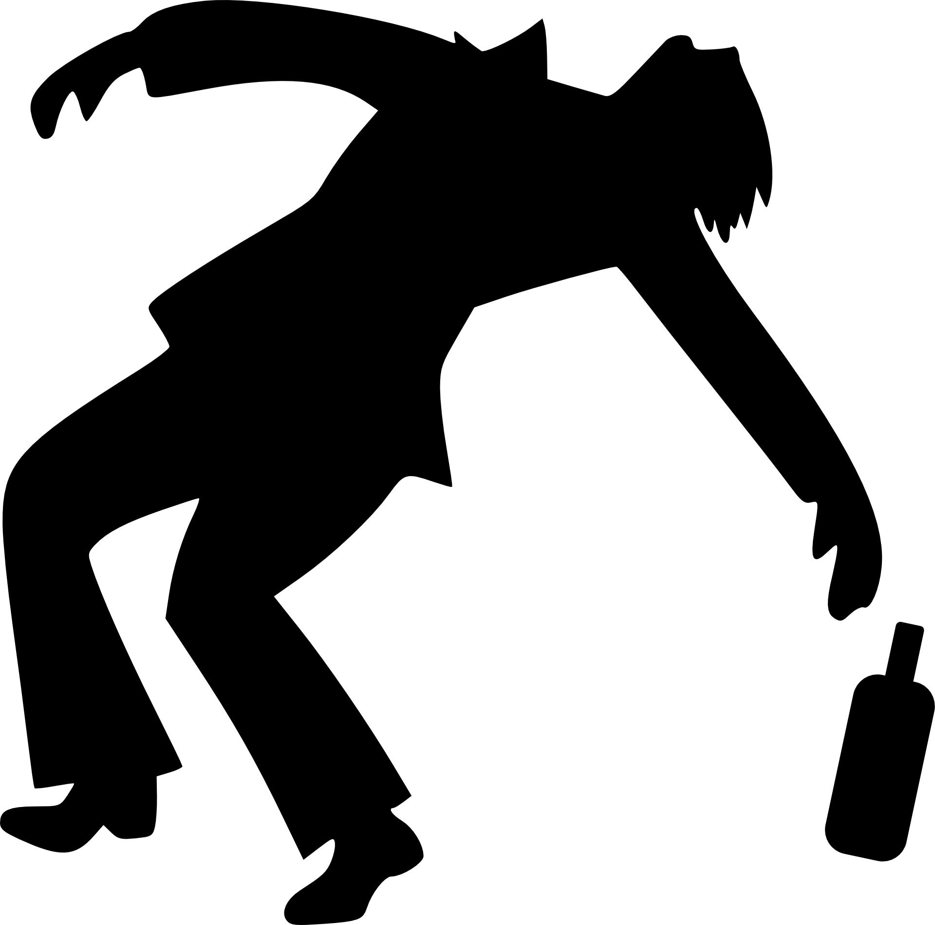 Silhouette of drunken man,vector