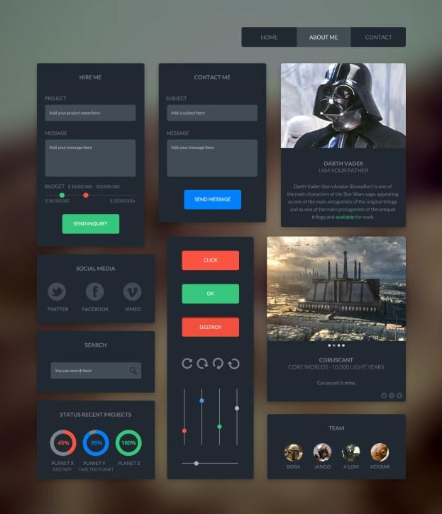 UI Kit Free PSD-Dark Desgin
