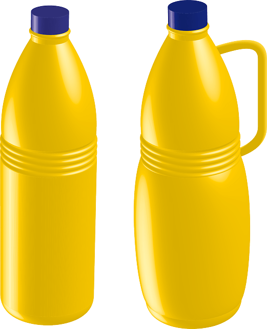 Yellow plastic bottles vector