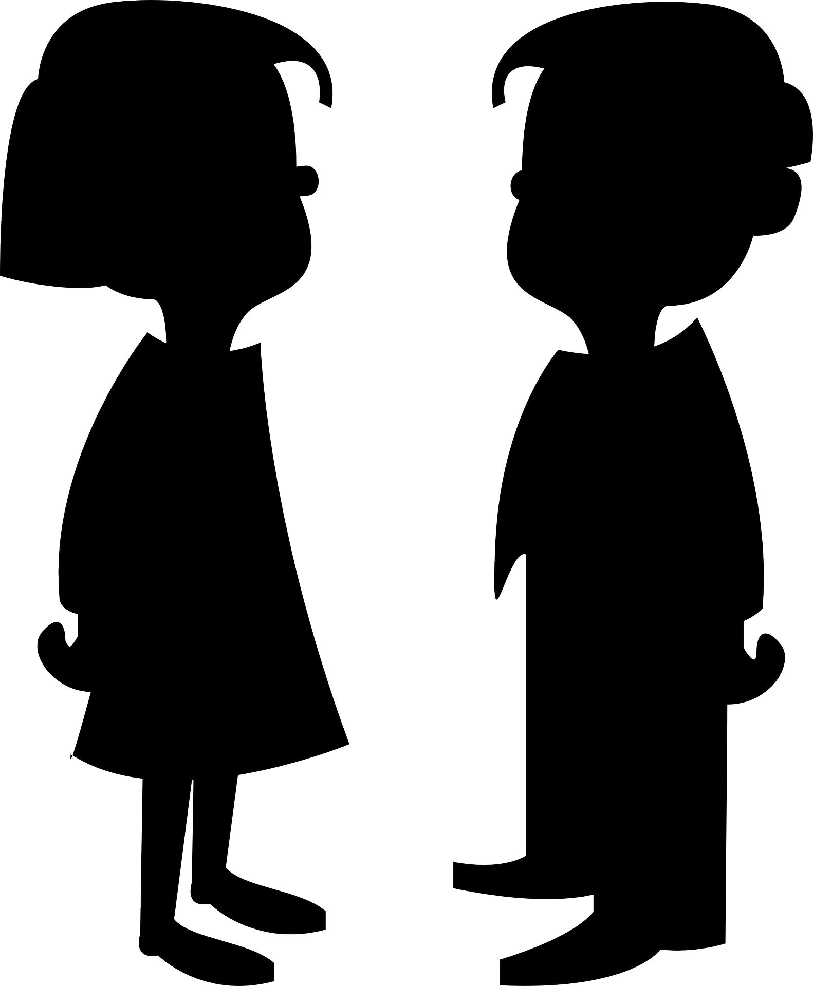 children girl & boy outline vector