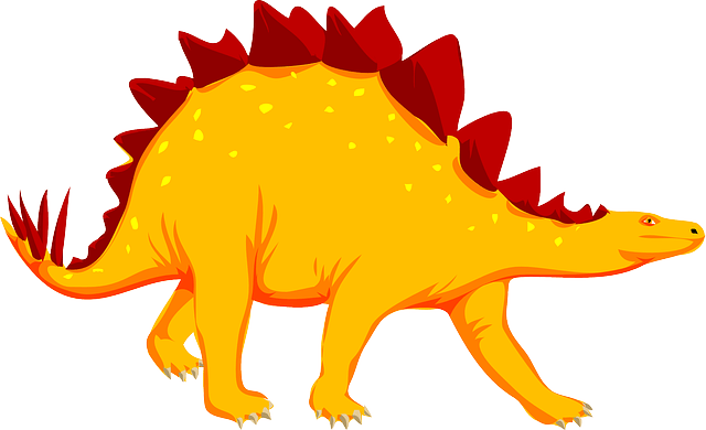 orange dinosaur- ancient animal stegosaurus vector