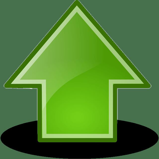 upward green arrow free vector
