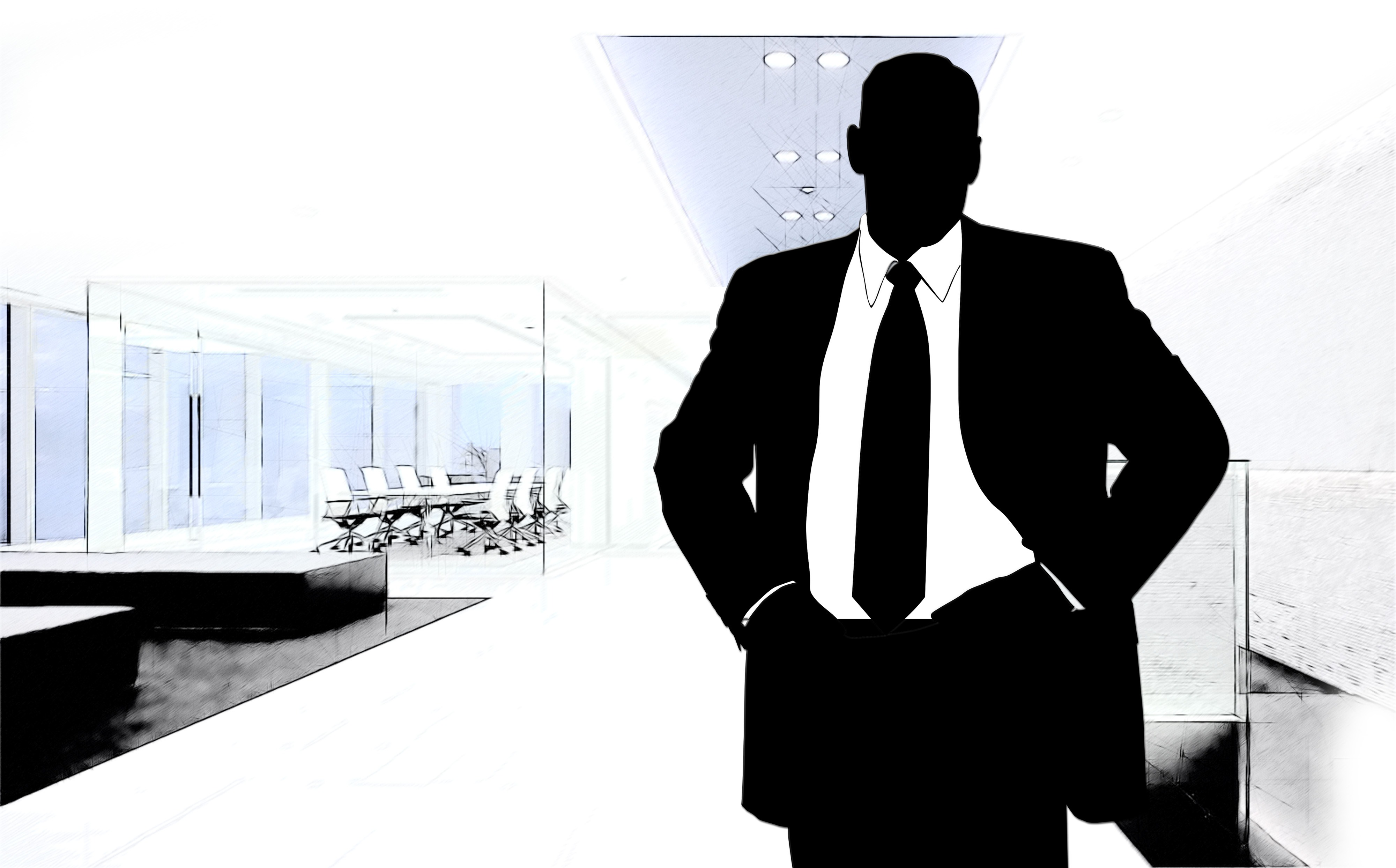 Business man and office ,outline,clipart