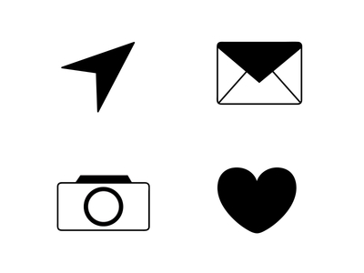 Camera Heart Mail Envelope Paper airplanes icons PSD