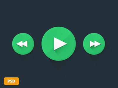Flat Play Button PSD