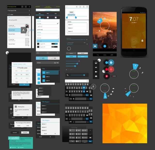 Free Android UI Design Kit PSD-Nexus 4 GUI
