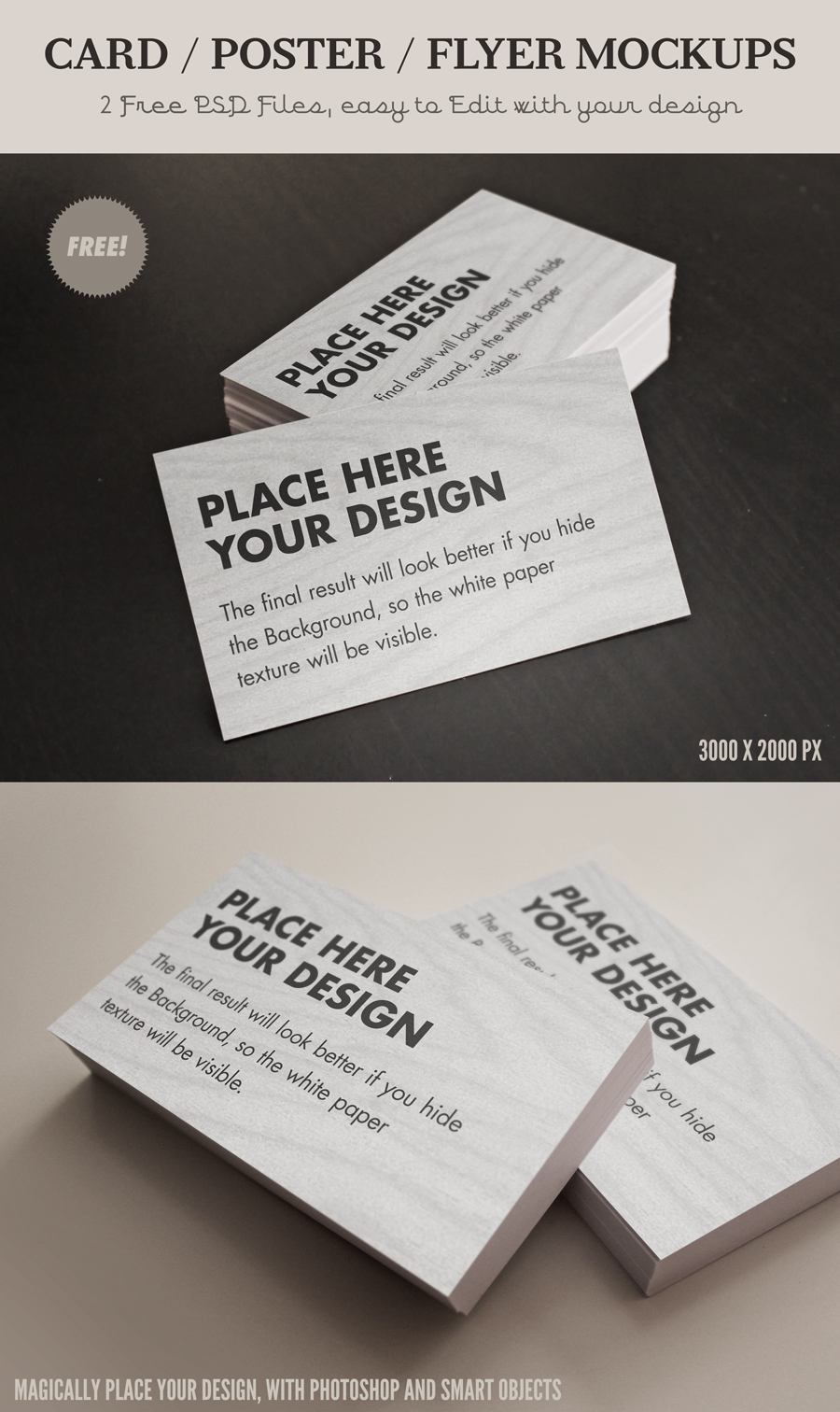 Free Card Poster Flyer MockUp PSD