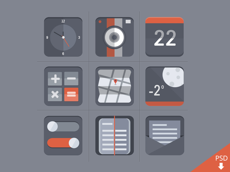 Free Flat Icon Set PSD